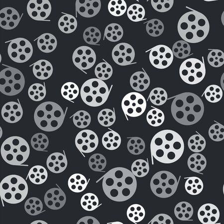 Grey Film reel icon isolated seamless pattern on black background. Vector Illustration