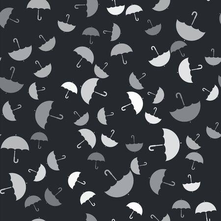 Grey Umbrella icon isolated seamless pattern on black background. Vector Illustration