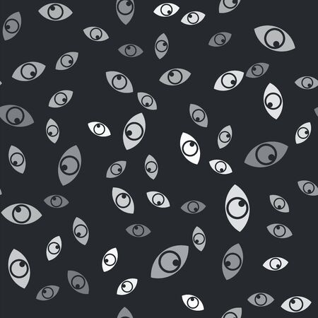 Grey Eye icon isolated seamless pattern on black background. Vector Illustration Banque d'images - 133429955