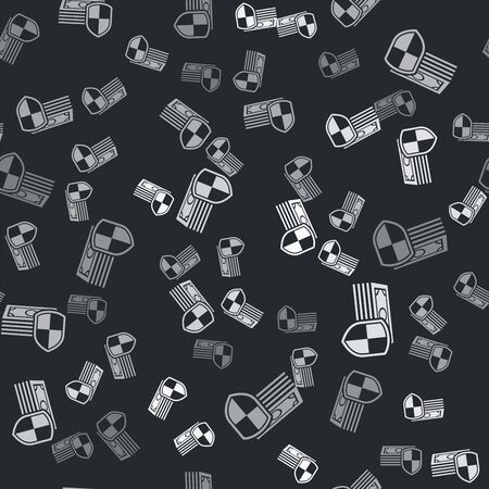 Grey Money protection icon isolated seamless pattern on black background. Financial security, bank account protection, fraud prevention, secure money transaction. Vector Illustration
