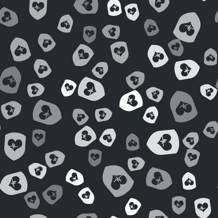 Grey Shield and heart rate icon isolated seamless pattern on black background. Health protection concept. Health care. Vector Illustration Illustration