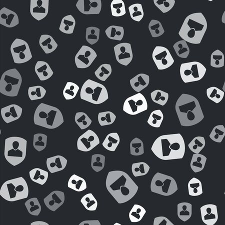 Grey User protection icon isolated seamless pattern on black background. Secure user login, password protected, personal data protection, authentication icon. Vector Illustration Illustration