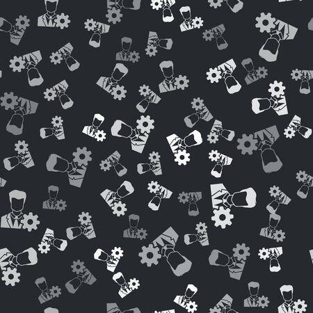 Grey Profile settings icon isolated seamless pattern on black background. User setting icon. Profile Avatar with cogwheel. Account icon. Male person silhouette. Vector Illustration Archivio Fotografico - 133429985