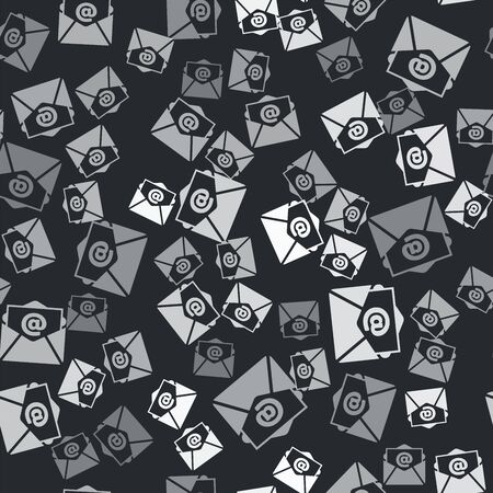 Grey Mail and e-mail icon isolated seamless pattern on black background. Envelope symbol e-mail. Email message sign. Vector Illustration Ilustração