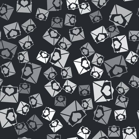 Grey Envelope with Valentine heart icon isolated seamless pattern on black background. Letter love and romance. Vector Illustration
