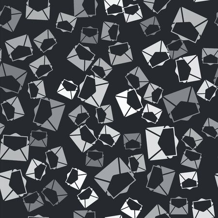 Grey Mail and e-mail icon isolated seamless pattern on black background. Envelope symbol e-mail. Email message sign. Vector Illustration Illusztráció