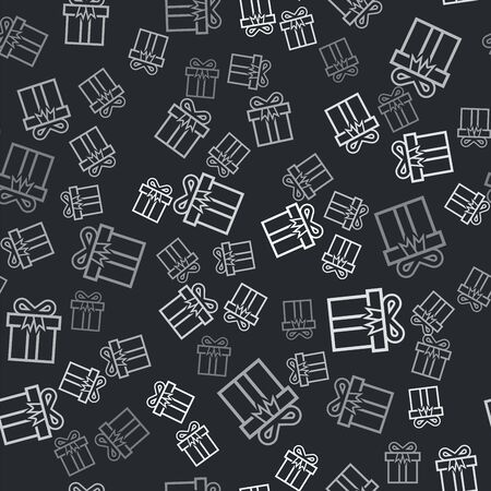 Grey Gift box icon isolated seamless pattern on black background. Vector Illustration