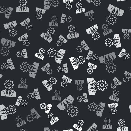 Grey Human head with gear inside icon isolated seamless pattern on black background. Artificial intelligence. Thinking brain sign. Symbol work of brain. Vector Illustration Archivio Fotografico - 133430054
