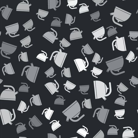Grey Kettle with handle icon isolated seamless pattern on black background. Teapot icon. Vector Illustration