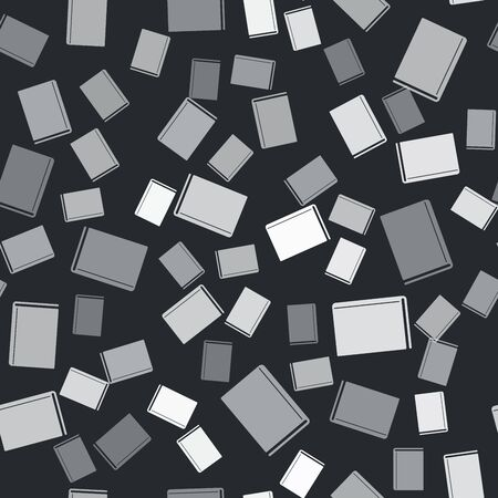 Grey Book icon isolated seamless pattern on black background. Vector Illustration Ilustrace
