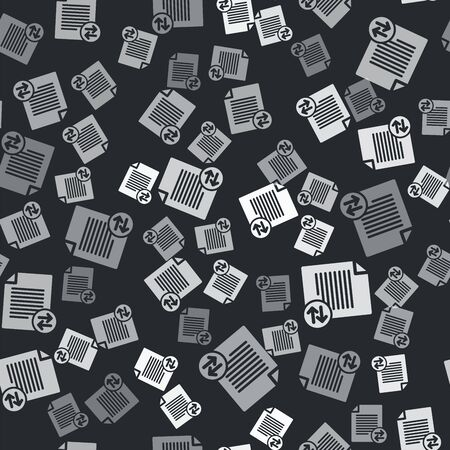 Grey Transfer files icon isolated seamless pattern on black background. Copy files, data exchange, backup, PC migration, file sharing concepts. Vector Illustration