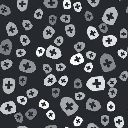 Grey Medical shield with cross icon isolated seamless pattern on black background. Protection, safety, password security. Vector Illustration Иллюстрация