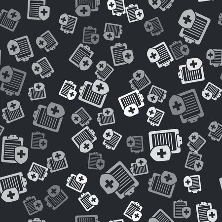 Grey Clipboard with medical insurance icon isolated seamless pattern on black background. Patient protection. Clipboard and shield with a cross. Vector Illustration