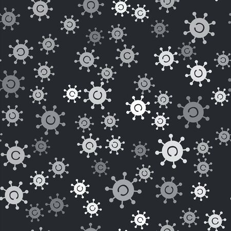 Grey Copywriting network icon isolated seamless pattern on black background. Content networking symbol. Copyright sign. Copywriting network sign. Vector Illustration Ilustrace