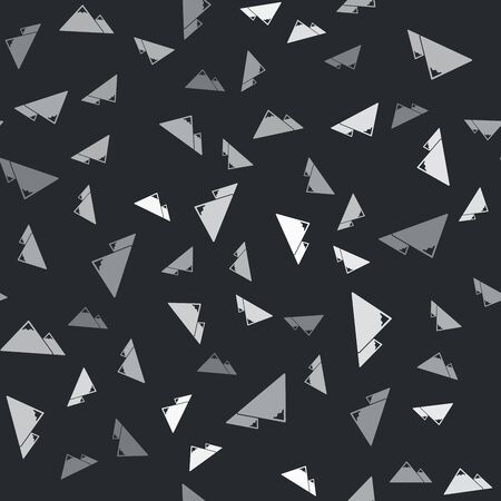 Grey Mountains icon isolated seamless pattern on black background. Symbol of victory or success concept. Vector Illustration Illusztráció