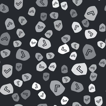 Grey Shield with check mark icon isolated seamless pattern on black background. Protection symbol. Security check Icon. Tick mark approved icon. Vector Illustration