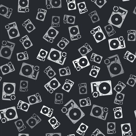 Grey Hard disk drive HDD sync refresh icon isolated seamless pattern on black background. Vector Illustration