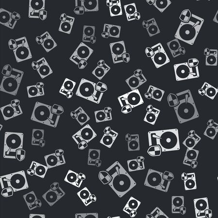 Grey Hard disk drive HDD protection icon isolated seamless pattern on black background. Vector Illustration Illustration