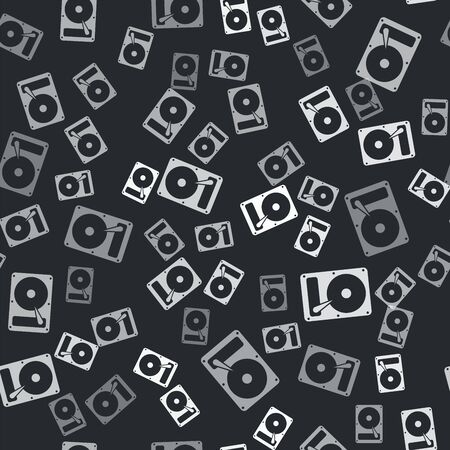 Grey Hard disk drive HDD icon isolated seamless pattern on black background. Vector Illustration