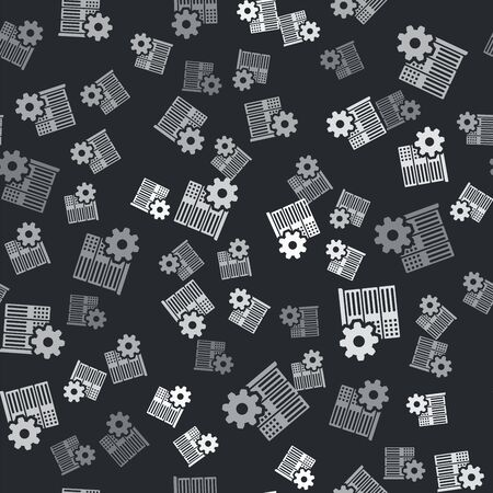 Grey Server setting icon isolated seamless pattern on black background. Vector Illustration