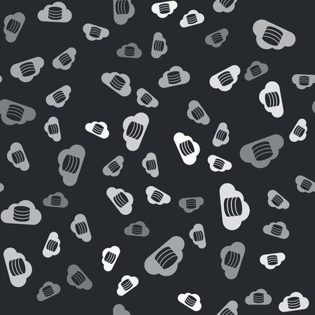Grey Cloud database icon isolated seamless pattern on black background. Cloud computing concept. Digital service or app with data transferring. Vector Illustration