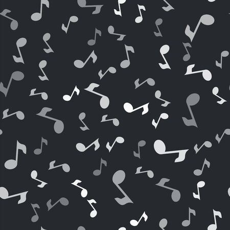 Grey Music note, tone icon isolated seamless pattern on black background. Vector Illustration Иллюстрация