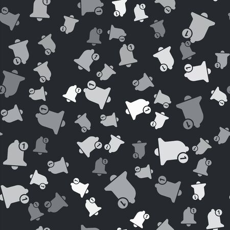 Grey Bell icon isolated seamless pattern on black background. New Notification icon. New message icon. Vector Illustration