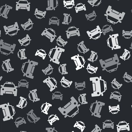 Grey Police car and police flasher icon isolated seamless pattern on black background. Emergency flashing siren. Vector Illustration Иллюстрация