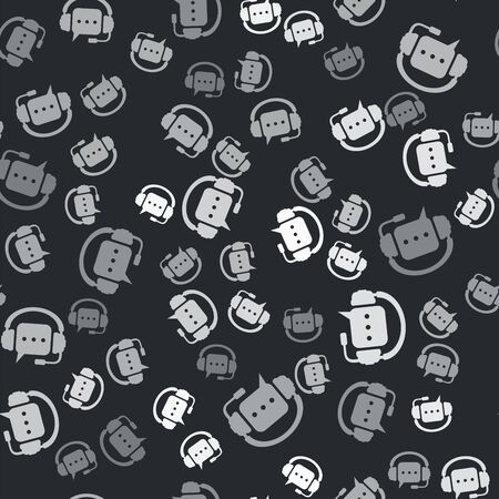 Grey Headphones with speech bubble icon isolated seamless pattern on black background. Support customer services, hotline, call center, guideline, maintenance. Vector Illustration Vettoriali