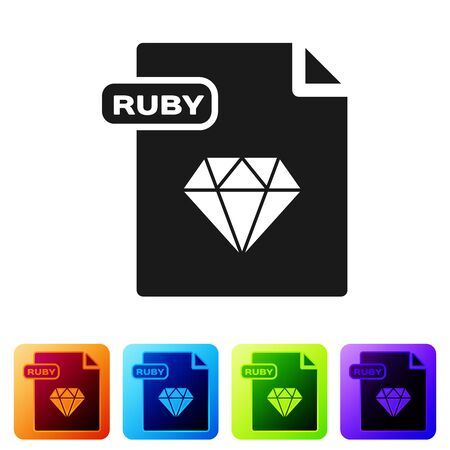 Black RUBY file document. Download ruby button icon isolated on white background. RUBY file symbol. Set icons in color square buttons. Vector Illustration