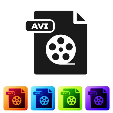 Black AVI file document. Download avi button icon isolated on white background. AVI file symbol. Set icons in color square buttons. Vector Illustration