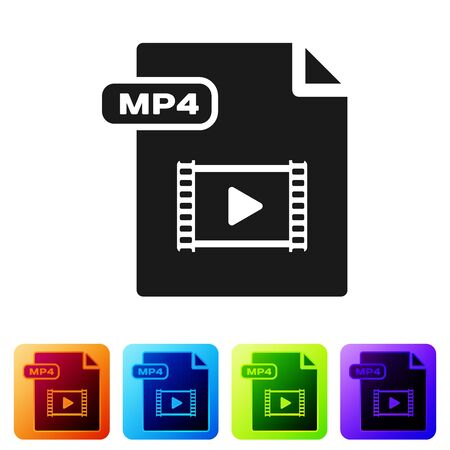 Black MP4 file document. Download mp4 button icon isolated on white background. MP4 file symbol. Set icons in color square buttons. Vector Illustration Ilustração