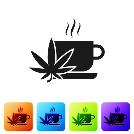 Black Cup tea with marijuana or cannabis leaf icon isolated on white background. Marijuana legalization. Hemp symbol. Set icons in color square buttons. Vector Illustration Vector Illustratie