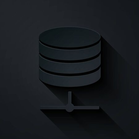 Paper cut Server, Data, Web Hosting icon isolated on black background. Paper art style. Vector Illustration