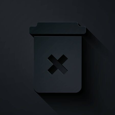 Paper cut Trash can icon isolated on black background. Delete icon. Garbage bin sign. Recycle basket icon. Office trash icon. Paper art style. Vector Illustration Illusztráció