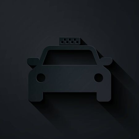 Paper cut Taxi car icon isolated on black background. Paper art style. Vector Illustration