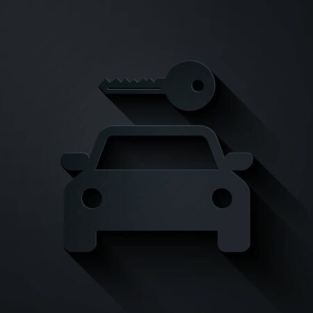 Paper cut Car rental icon isolated on black background. Rent a car sign. Key with car. Concept for automobile repair service, spare parts store. Paper art style. Vector Illustration