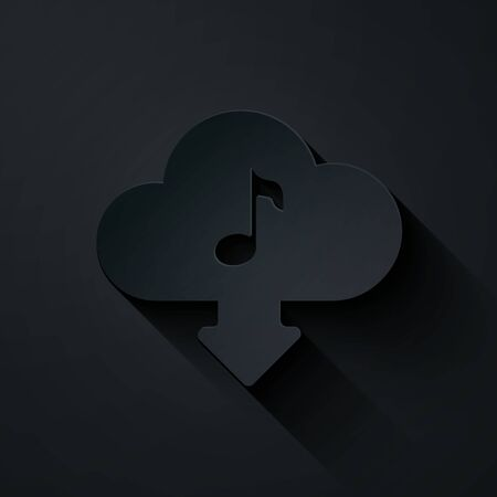 Paper cut Cloud download music icon isolated on black background. Music streaming service, sound cloud computing, online media streaming, audio wave. Paper art style. Vector Illustration
