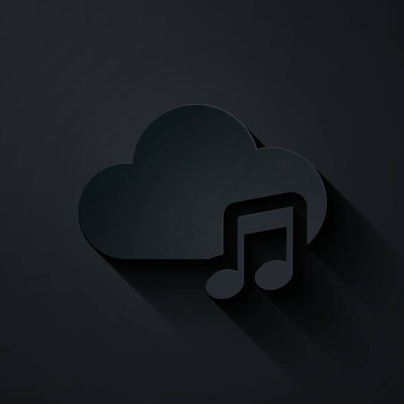 Paper cut Music streaming service icon isolated on black background. Sound cloud computing, online media streaming, online song, audio wave. Paper art style. Vector Illustration Illustration