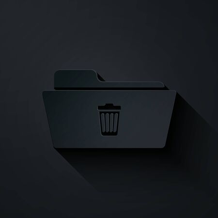 Paper cut Delete folder icon isolated on black background. Folder with recycle bin. Delete or error folder. Close computer information folder sign. Paper art style. Vector Illustration Illusztráció