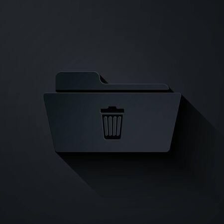 Paper cut Delete folder icon isolated on black background. Folder with recycle bin. Delete or error folder. Close computer information folder sign. Paper art style. Vector Illustration Illustration