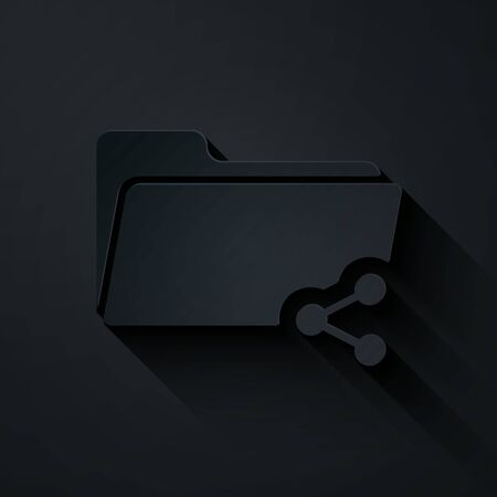 Paper cut Share folder icon isolated on black background. Folder sharing. Folder transfer sign. Paper art style. Vector Illustration