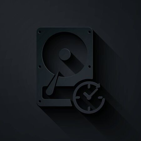 Paper cut Hard disk drive with clockwise sign, data recovery icon isolated on black background. Paper art style. Vector Illustration