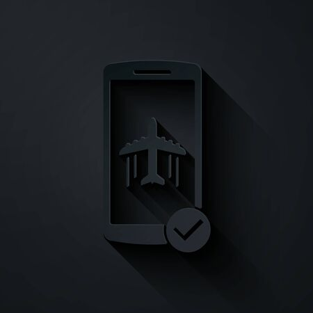 Paper cut Flight mode in the mobile phone icon isolated on black background. Airplane or aeroplane flight offline mode passenger regulation airline . Paper art style. Vector Illustration Иллюстрация