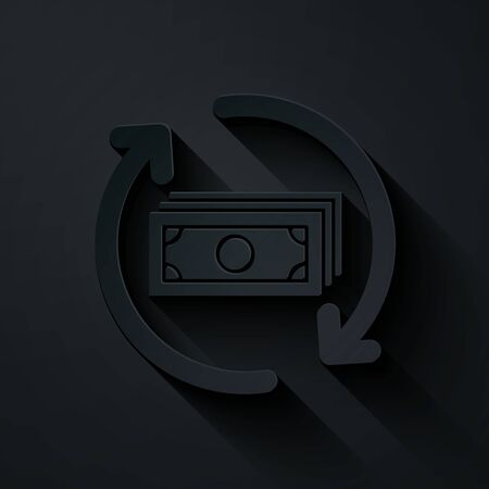 Paper cut Refund money icon isolated on black background. Financial services, cash back concept, money refund, return on investment, savings account. Paper art style. Vector Illustration 矢量图像
