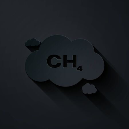 Paper cut Methane emissions reduction icon isolated on black background. CH4 molecule model and chemical formula. Marsh gas. Natural gas. Paper art style. Vector Illustration Ilustrace