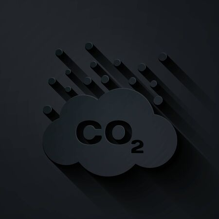 Paper cut CO2 emissions in cloud icon isolated on black background. Carbon dioxide formula symbol, smog pollution concept, environment concept. Paper art style. Vector Illustration