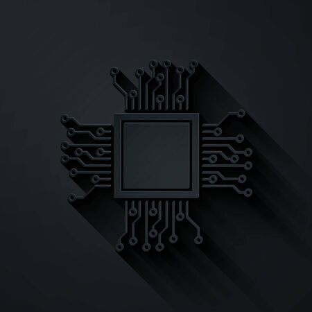 Paper cut Processor icon isolated on black background. CPU, central processing unit, microchip, microcircuit, computer processor, chip. Paper art style. Vector Illustration