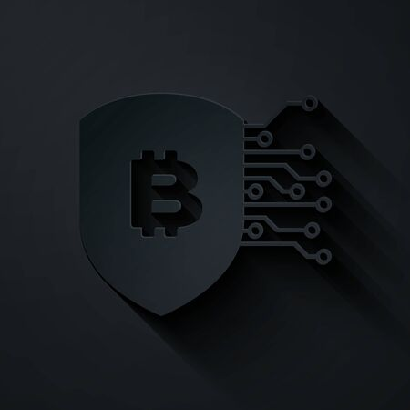 Paper cut Shield with bitcoin icon isolated on black background. Cryptocurrency mining, blockchain technology, security, protect, digital money. Paper art style. Vector Illustration Illusztráció