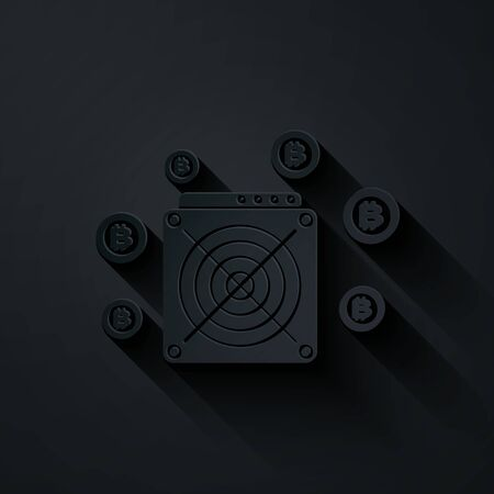 Paper cut ASIC Miner icon isolated on black background. Cryptocurrency mining equipment and hardware. Application specific integrated circuit. Paper art style. Vector Illustration